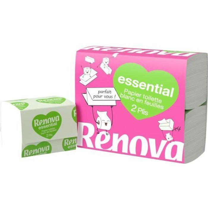 LOT DE 5 - RENOVA Papier toilette Plat Carré en feuille 2 plis - Paquet de 4 blocs