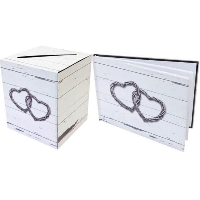 1 Pack urne et livre d'or mariage romantique R/ACM604-ACM605
