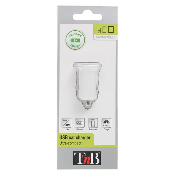 TNB Chargeur allume-cigare - 5V - USB - Blanc