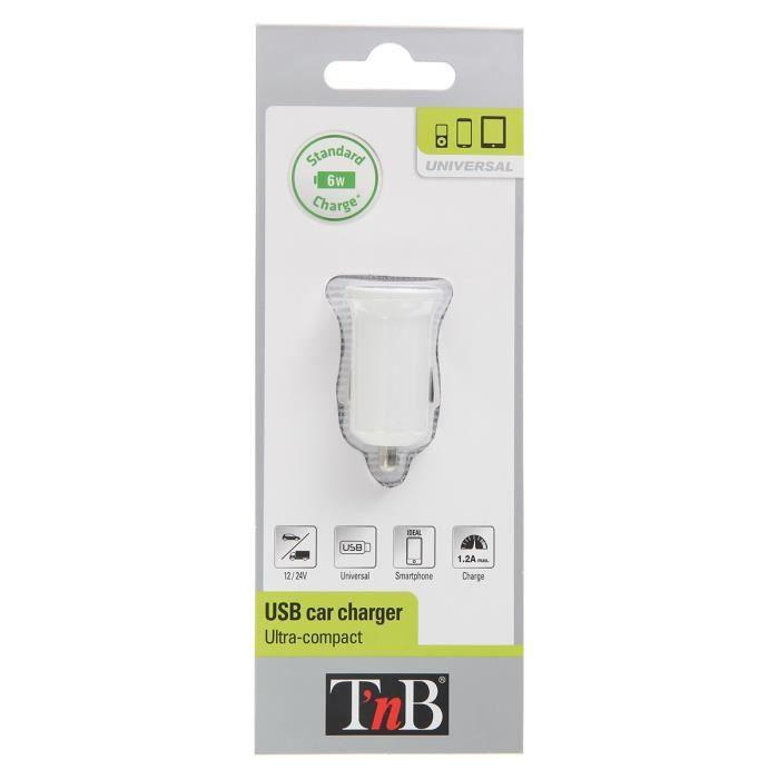 TNB Chargeur allume-cigare - 5V - USB - Blanc