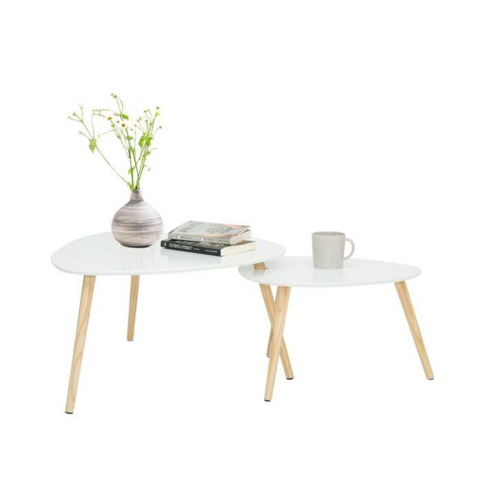 Wonderhome Table Gigogne Set De 2 Table Basse ,Table Basses Scandinaves Blanc,Pieds De Table en Pin Et Plateau MDF