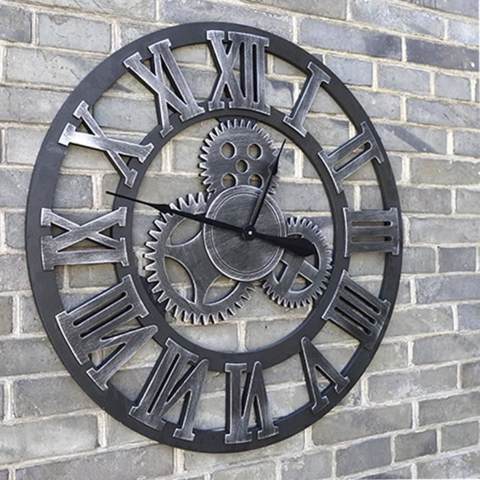 grand horloge murale 3d m canique home decor modern design horloge murale achat vente. Black Bedroom Furniture Sets. Home Design Ideas