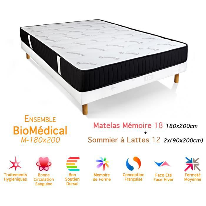 ensemble biom dical matelas m moire de forme sommier 18 12 180x200cm achat vente ensemble. Black Bedroom Furniture Sets. Home Design Ideas