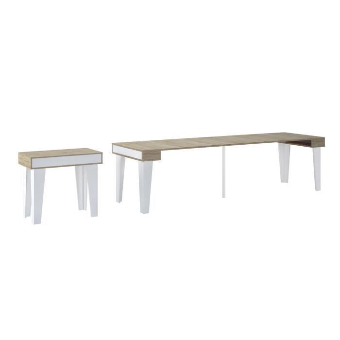 Noprdic Kl Table Console A Rallonge Blanc Mat Et Chene Brosse