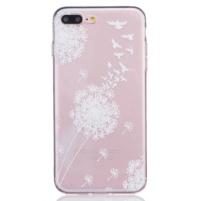 coque iphone 7 plus transparente motif fleurs blan
