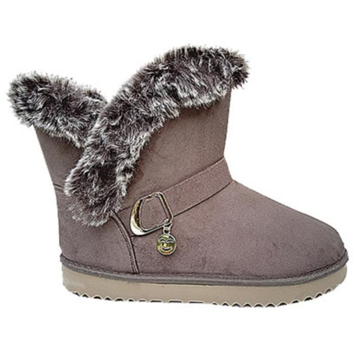 femme fille bottine botte boots chaussure fourr es fur plat hiver talon 32305 taupe taupe. Black Bedroom Furniture Sets. Home Design Ideas