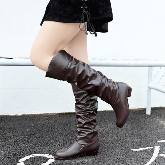 Femmes à Enfiler Over Bottes hautes avec talon bottier Moto Chaussures 6 Couleurs