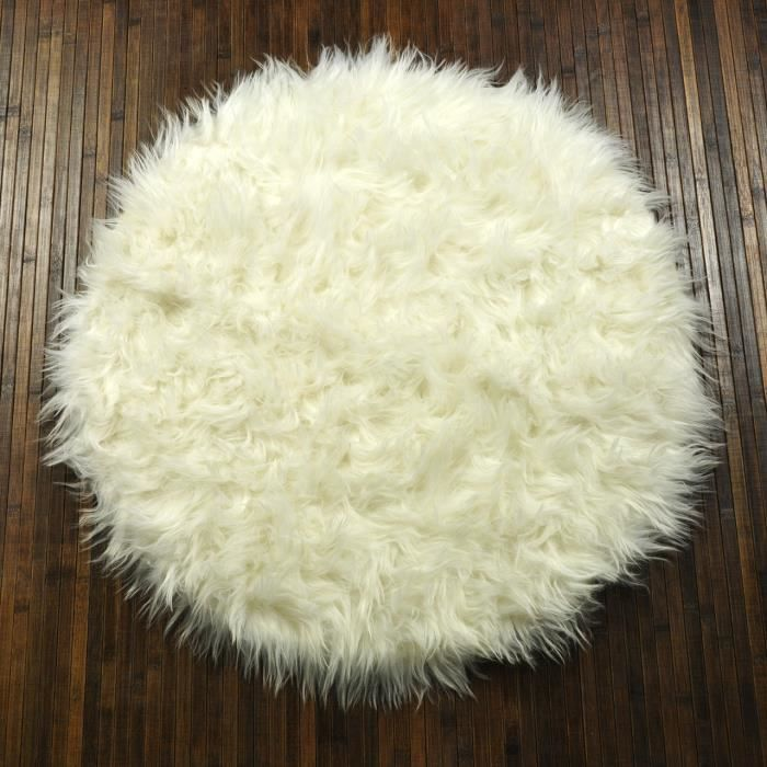 tapis shaggy floky rond blanc achat vente tapis cdiscount. Black Bedroom Furniture Sets. Home Design Ideas