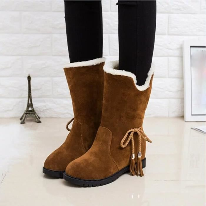 Femme De Talons Chaussures D'hiver Hiver Bottines Bottes Mode Neige pYdqwIYA
