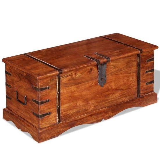 vidaXL Coffre de Rangement Bois Large Marron Table Basse Caisse de Stockage