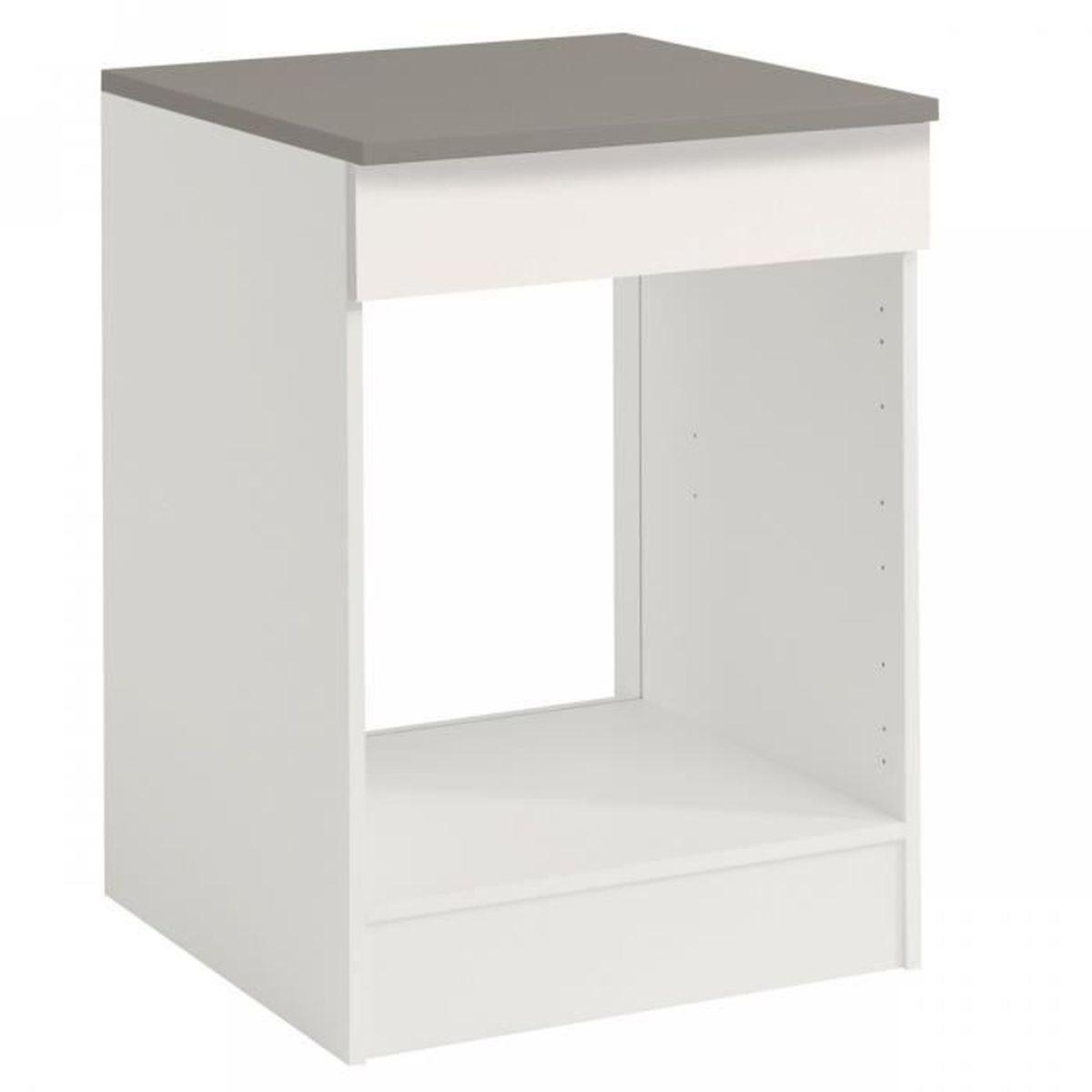 Meuble Four Plaque Induction luna blanc - meuble four 60cm - achat / vente elements bas