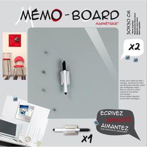 MÉMO - ARDOISE MURALE EMOTION Mémo board magnétique verre gris 30x30 cm