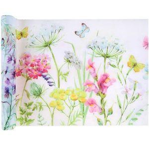 CHEMIN DE TABLE JETABLE Chemin de table fleurs 30cm x 5m (x1) REF/6343