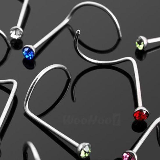 10 pcs 22 g 9 mm Argent Sterling 925 4 mm multi pierres Jeweled Fleur Nez Droit