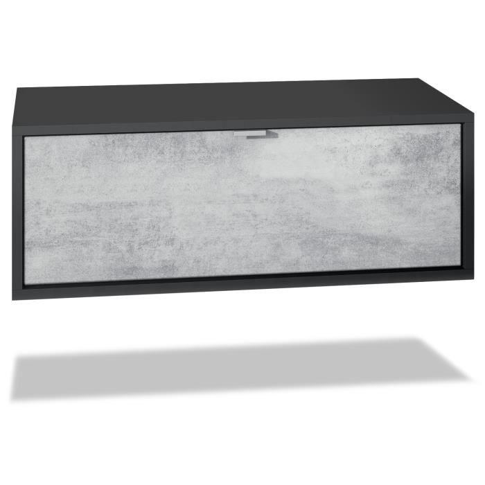 Meuble TV Lana 80 armoire murale lowboard 80 x 29 x 37 cm, caisson en noir mat, façades en Béton Oxyde