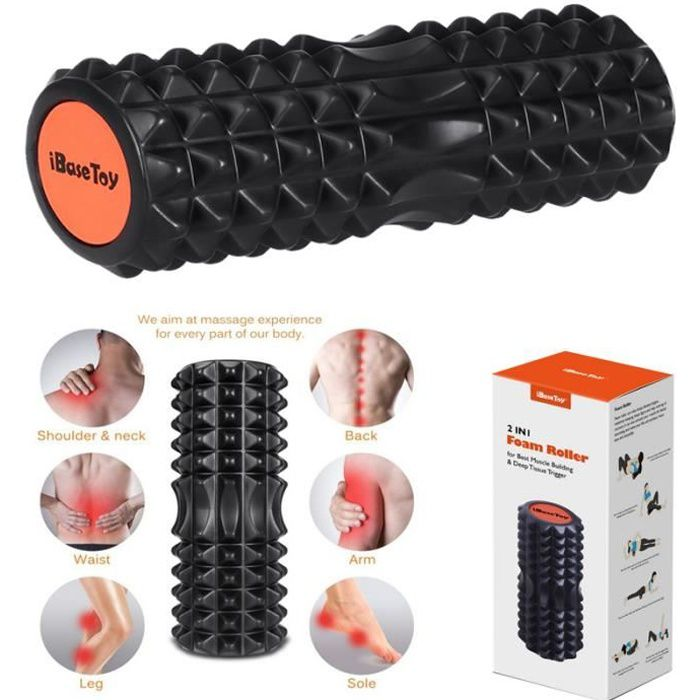 Rouleau de Massage Sport, pour Dos et Muscles, 2 en 1 Foam Roller avec Trigger Points, Supprime Tension et Douleur Musculaires