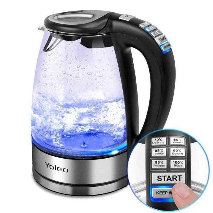 YOLEO® Bouilloire électrique en cristal sans BPA et avec illumination LED, 1.7 litres, 2000 W. Design verre argent