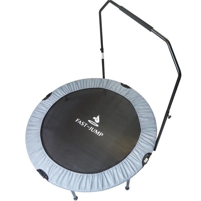FAST JUMP Mini trampoline pliable Door-Bar - 122cm - Gris