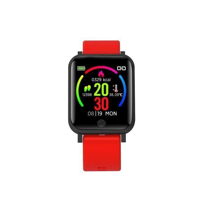 Montre intelligente avec mesure de la température du corps, Suivi d'activité étanche, Moniteur de sommeil Rouge