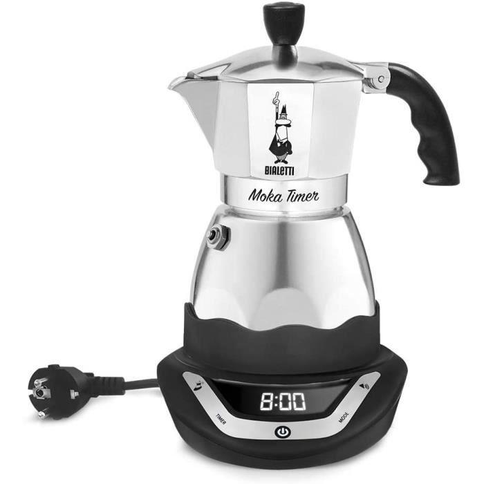 Bialetti - 6093 - Easy Timer - Cafetière Italienne Electrique en Inox - 6 Tasses - Noir-Gris