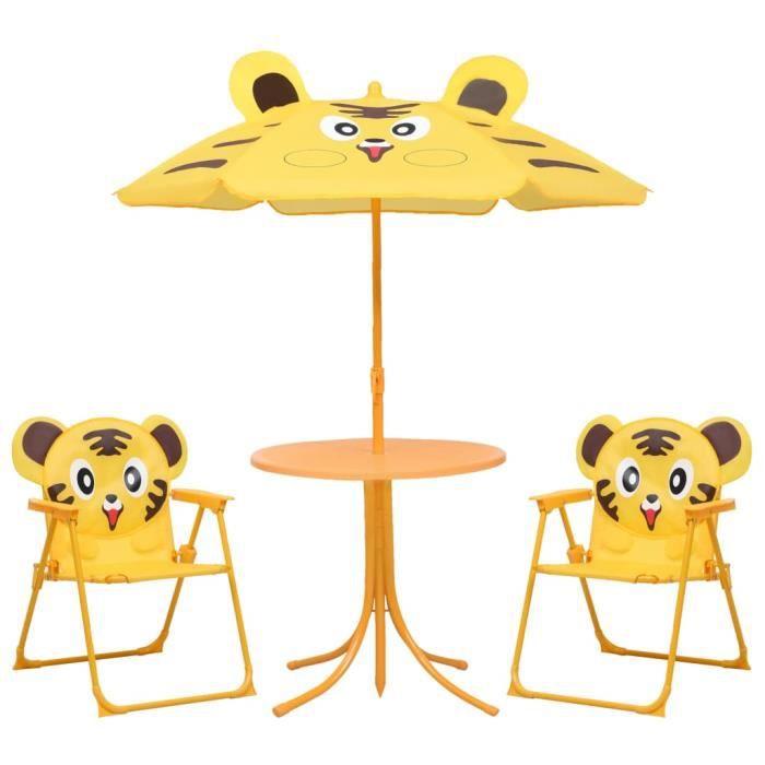 Jeu de Bistro Balcon - Salon de Jardin Terrasse - Jeu de bistro avec parasol pour enfants 3 pcs Jaune��9633