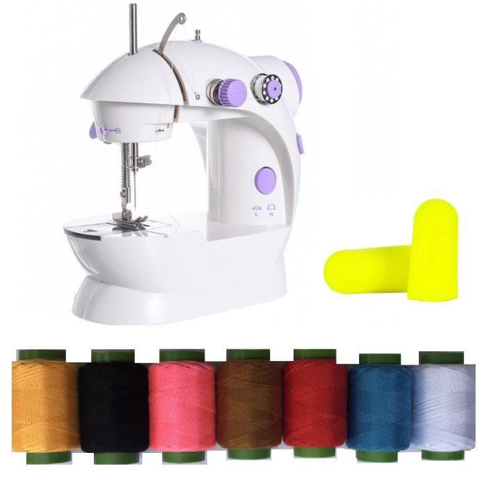 Mini Machine à coudre électrique Garment ménage portable+7 Bobines de fils Domestique Portative,LED Lumière+Bobines+Pédale Pied
