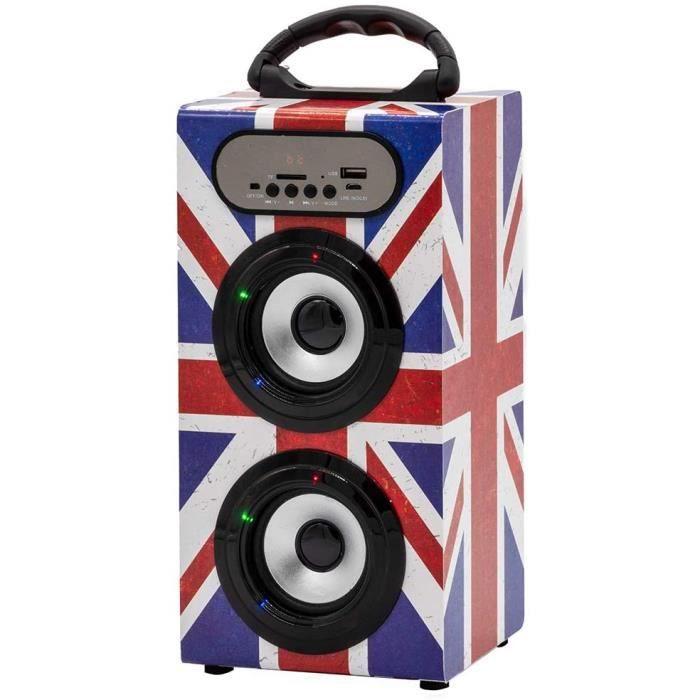 RADIO CD Teknofun 811273 Tour Enceinte Bluetooth Uk Grunge334