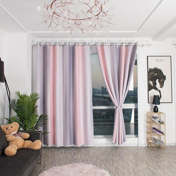 Tbest Rideau Double couche creuse salon Dedroom Polyester fenêtre ombrage rideau rideau décoration (rose gris)