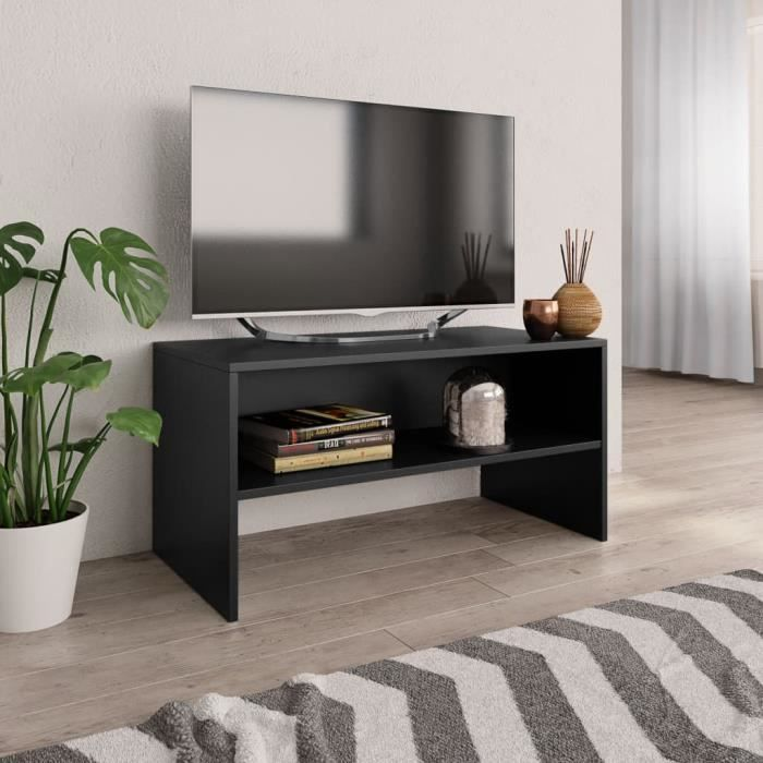Meuble TV contemporain Noir - 80 x 40 x 40 cm HB055