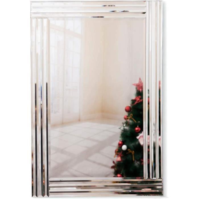 Miroir Murale Grand Bois Miroirs Mural rectangulaire Design à Triple Bords biseautés, Velours Noir Argenté Miroir à Fixation M[152]