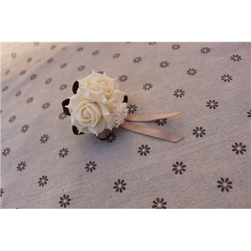 Décoration florale,Décoration de mariage rose de poignet de mariage,fleur de main en dentelle de soie - Type champagne deep coffe