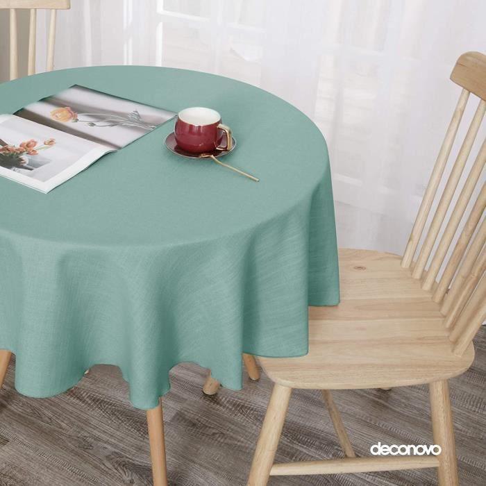 Deconovo Nappe Table Ronde Effet Lin Vert 140cm Nappe Design Moderne Semi Imperméable pour Salon Chambre