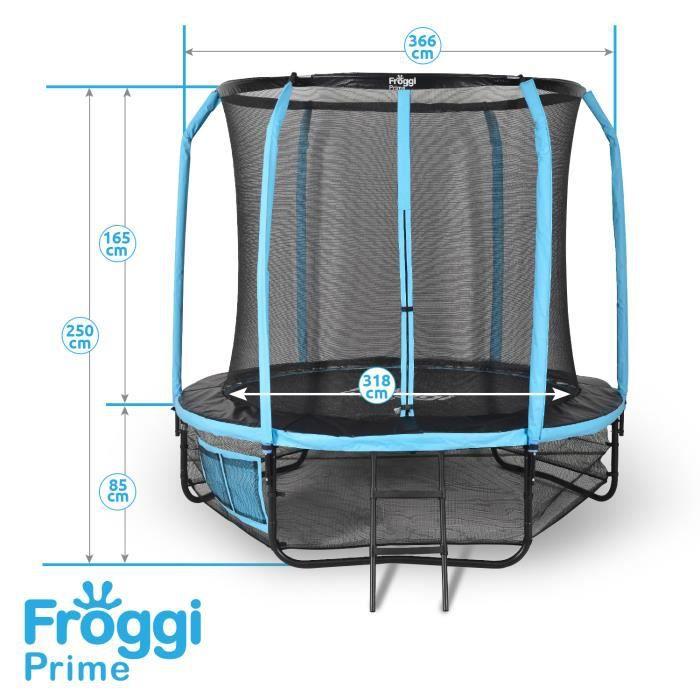 Trampoline d'extérieur FROGGI PRIME - 366cm Norme CE & GS - Structure garantie 5 ans Diamètre : 366 cm (12ft) - Charge max : 150 kg
