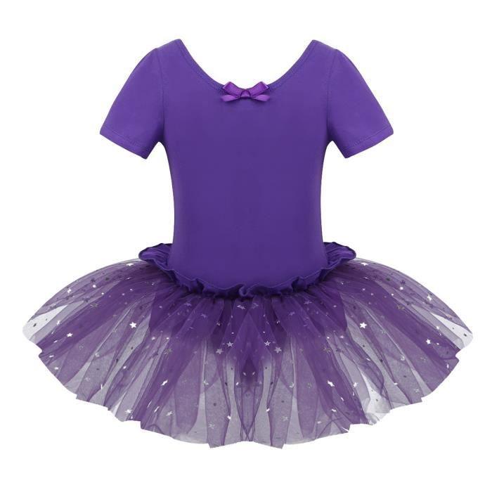 Tutu de Danse Enfant Fille Justaucorps Danse Classique Paillette Costume Spectacle 4-10 Ans Violet