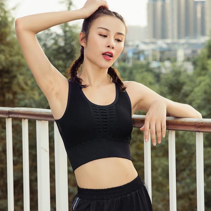 BRASSIERE DE SPORT - SOUTIEN-GORGE DE SPORT Soutien-gorge de yoga sans manches pour dames Femme Sports Hauts unis Débardeur Sexy