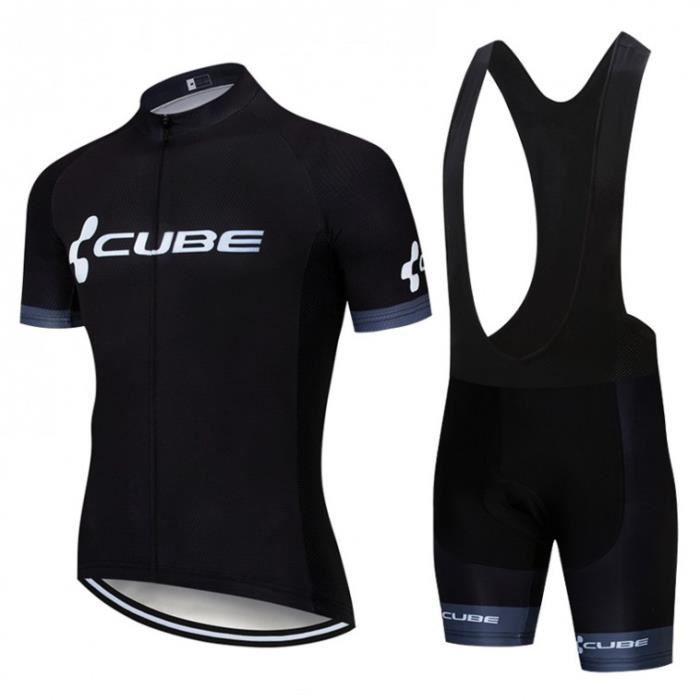 CUBE Maillot de Cyclisme Manches Courtes Tour de France + Cuissard à Vélo Homme GEL Combinaison VTT Ensemble de Vetement