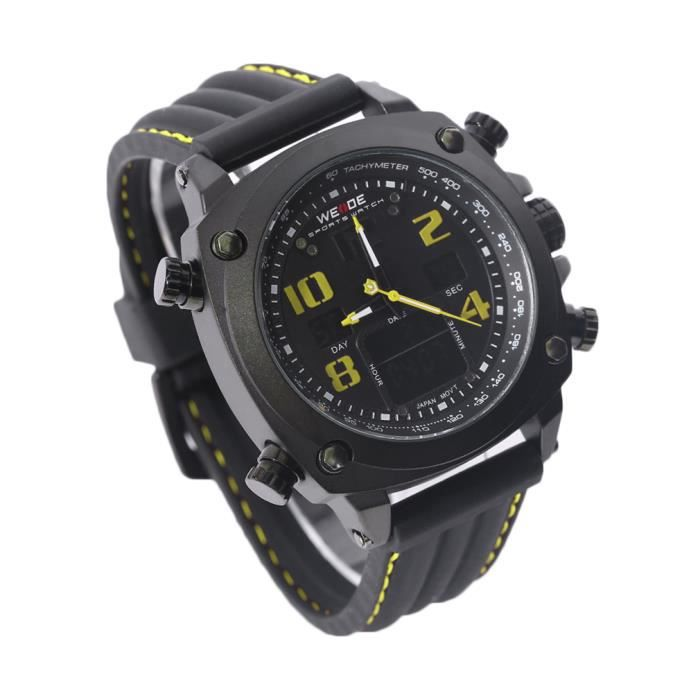 WEIDE Montre Homme Tape Black Plate Black Face Yellow Letter WH5208