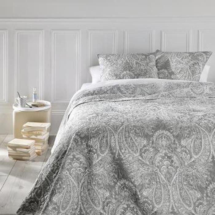 Dessus de Lit avec 2 taies d'oreiller coloris Gris Clair en Polyester - Dim : L260 x l240 CM