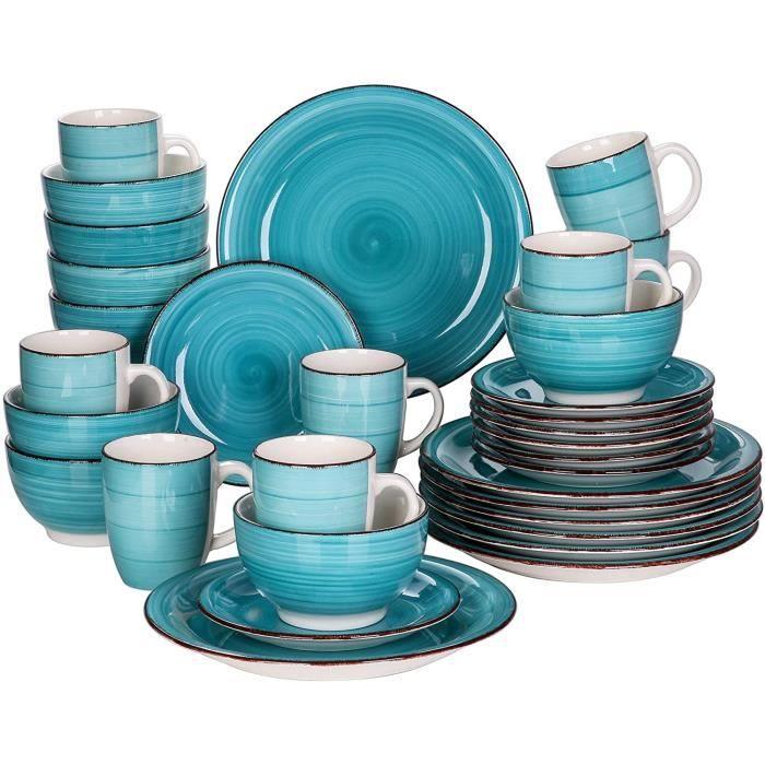 vancasso, Série Bella, Service de Table en Porcelaine,Faïence Style Vintage Rustique,Motif Cercle Arbre-menthe 32pcs