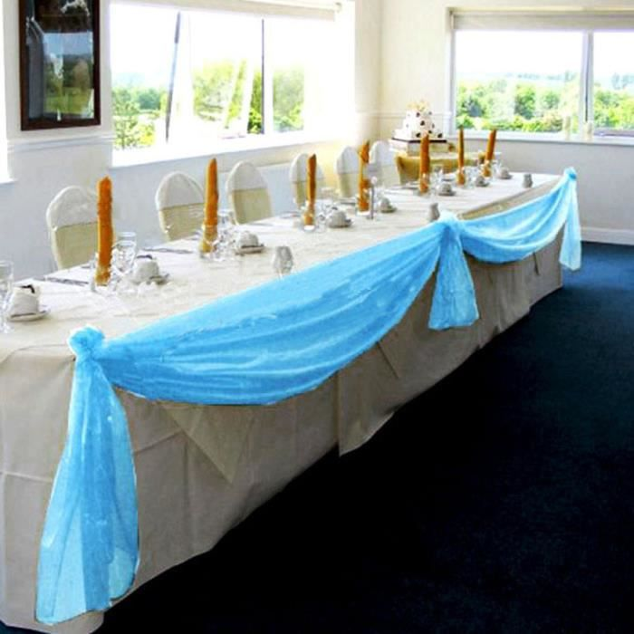 chemin de table organza d coration mariage de table nappe table runner bleu 5 1 4 m achat. Black Bedroom Furniture Sets. Home Design Ideas