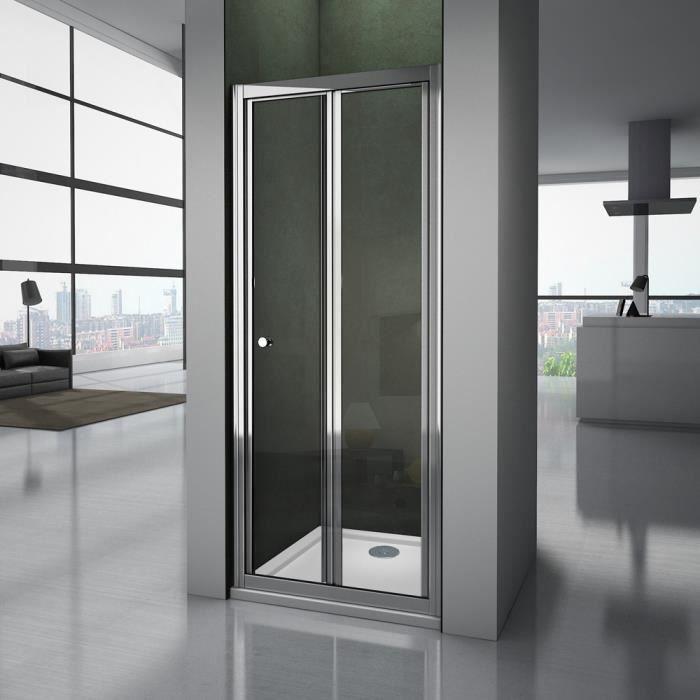 Porte de douche coulissante 100x90x185cm cabine de douche angulaire 2 volets et 2 verres fix/és