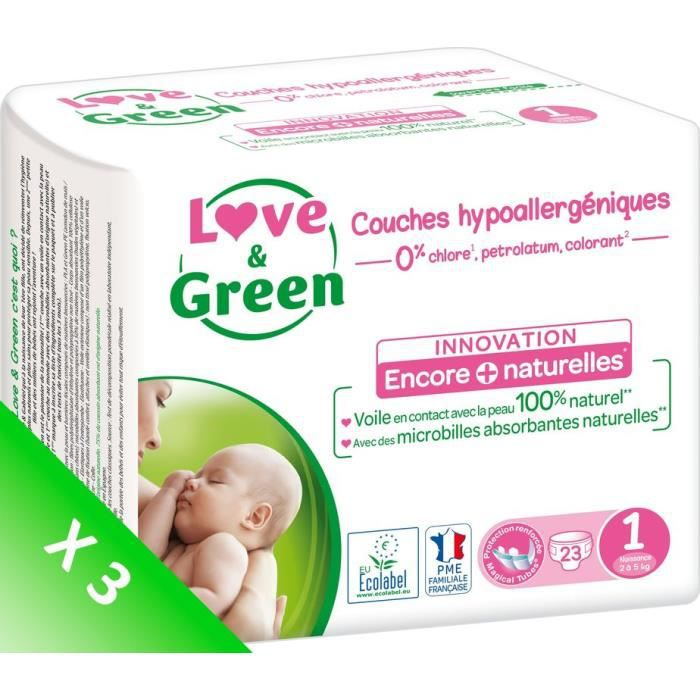 COUCHE LOVE AND GREEN Couches ecolabellisées T1 - 69 couc