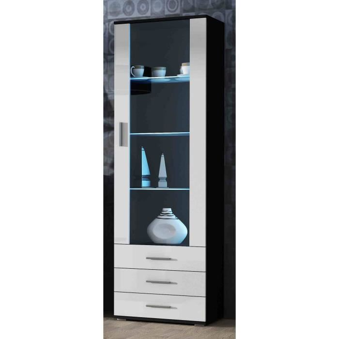 meuble vitrine design sano noir blanc achat vente vitrine argentier meuble vitrine design. Black Bedroom Furniture Sets. Home Design Ideas