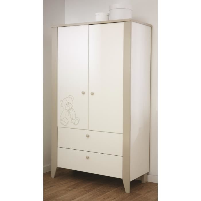 ourson armoire 2 portes 2 tiroirs blanc et beige achat. Black Bedroom Furniture Sets. Home Design Ideas