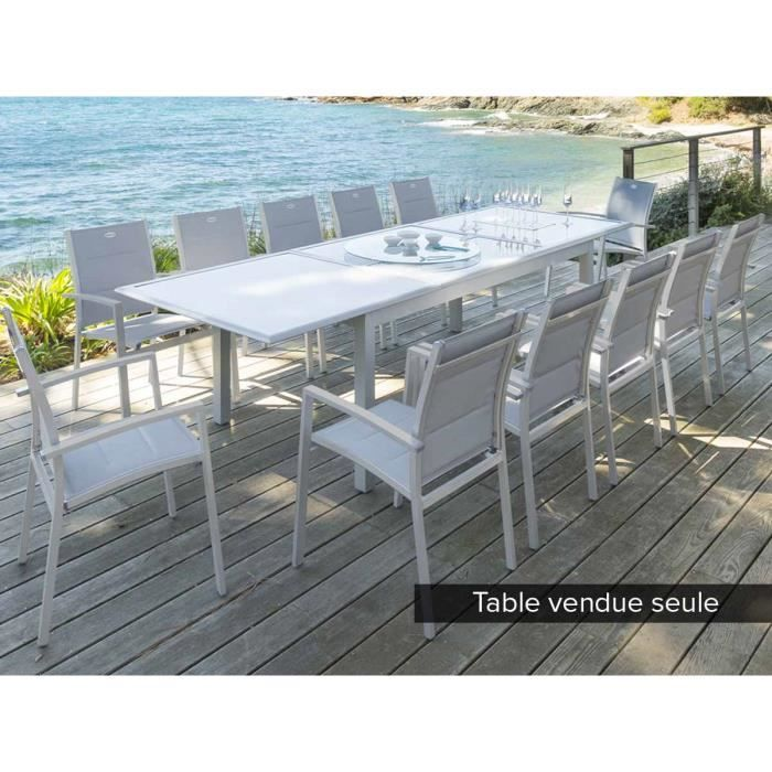 Table rectangulaire extensible AZUA 8 - 12 places Gris mat ...