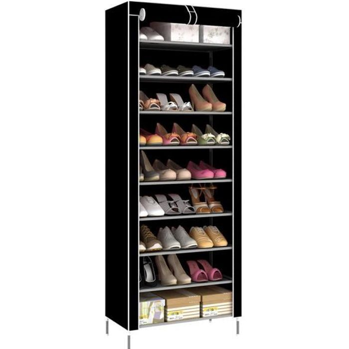 Bois étagère à chaussures foncé 3 étages-Chaussure support Chaussure Armoire de salle de bain étagère NEUF