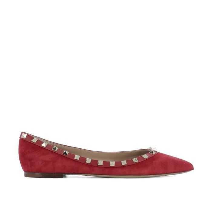 VALENTINO FEMME NW0S0403WVW0R0 ROUGE SUÈDE BALLERINES Qsdc93L