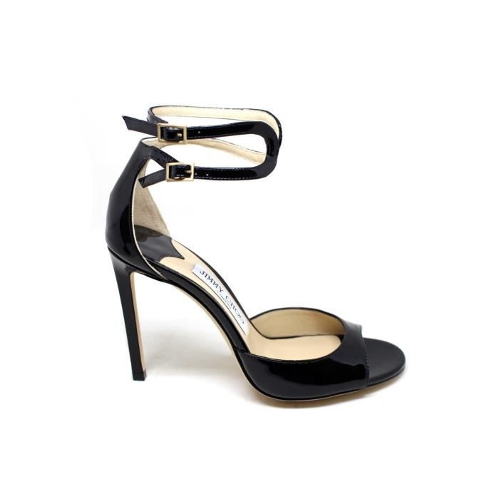 JIMMY CHOO FEMME LANE100BLACK NOIR CUIR SANDALES It4HUpw
