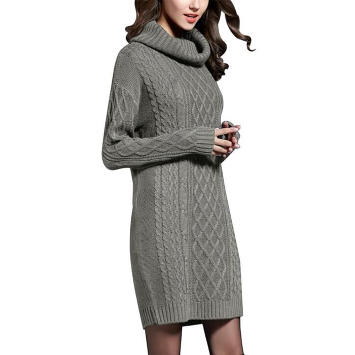 Femmes Grande Taille Robe Pull Femmes Mode Solide Decontracte Tricote Pull Femme Col Roule Surdimensionne Pull Dames Type Gris Gris Achat Vente Robe Cdiscount