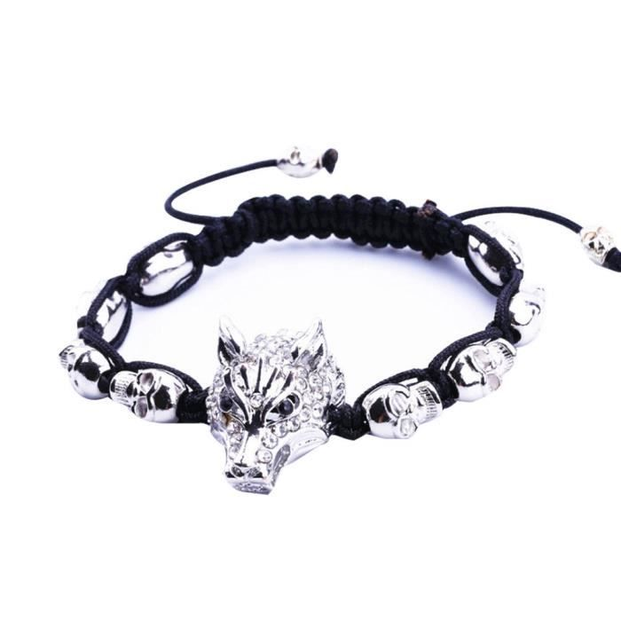 BRACELET - GOURMETTE Bracelet Tête de Loup Tissé Tressé Bracelet Manche